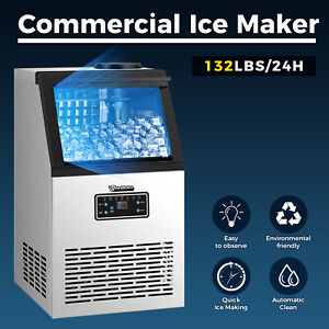 Anbull Commercial Ice Maker Ice Cube Machine Stainless Steel Bar Home 132lbs day