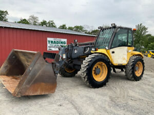 2003 New Holland Lm640 4x4 6000lb Telescopic Forklift W Cab Bucket Forks