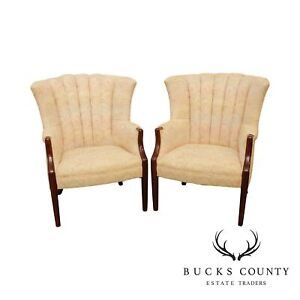 Vintage Mahogany Pair Channel Back Wing Chairs