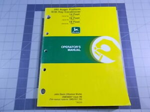 John Deere Ome98007 Owners Manual For 890 Auger Platform With Hay Conditioner