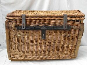 Antique French Wicker Shipping Travel Trunk Iron Lock Bar Hide Reinforcement