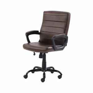 Office Chair Leather Brown Comfort Stylish Rolling Wheels Perfect For Managers