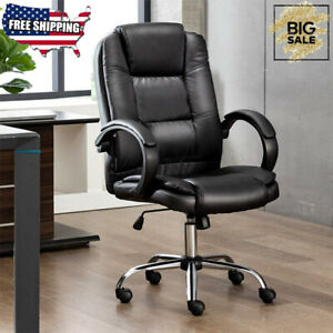 Pu Office Chair Soft Leather Executive Ergonomic Computer Desk Seat High Back