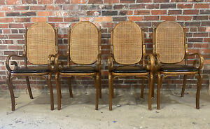 Set Four Bentwood Cane Back Dining Chairs Black Vinyl Seats Can Ship Buyer Pay