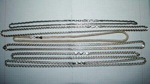 Lot Of 6 Big Chain Necklaces Vintage Sterling Silver 925 Jewelry Not Scrap 100gr