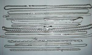 Lot Of 13 Chain Necklaces Vintage Sterling Silver 925 Jewelry Not Scrap 100 Gr
