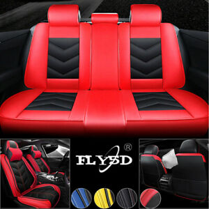 Racing Car Seat Covers Pu Leather Front Rear Fly5d Interior 5 Seats Cushion Set