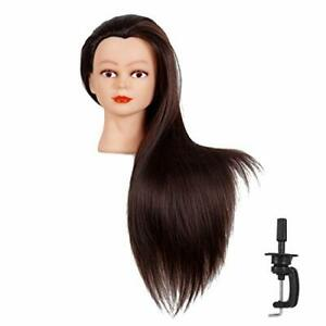 Cosmetology Mannequin Head With Synthetic Hair And Adjustable Stand 26 Black