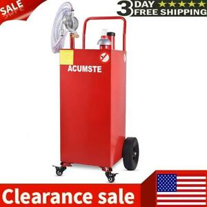 35 Gallon Gas Fuel Diesel Caddy Transfer Portable Tank W pump Container Red Usa