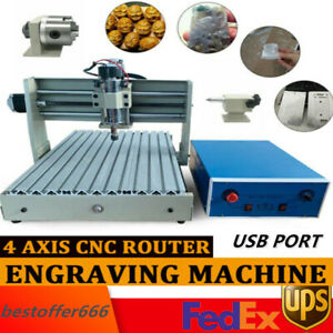 Usb 4axis 3040 Cnc Router Engraver Engraving Machine Woodwork Mill Drill Machine