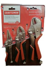 Craftsman 3 Pc Locking Pliers Set One hand Operation Adj Jaw With Wire Cutter