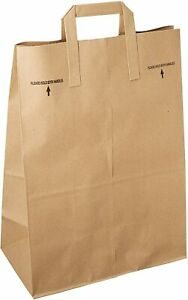 100 Paper Retail Grocery Bags Kraft With Handles 12x7x17 pack Of 100 Brown