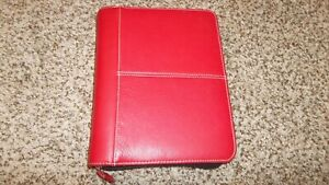 Franklin Covey Red Simulated Leather Classic Planner 7 ring Binder