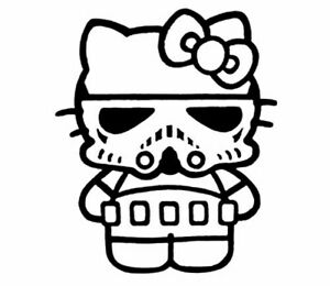 Vinyl Decal Hello Kitty Stormtrooper Star Wars Pick Size Color Car Sticker
