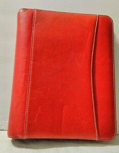Franklin Covey Red Classic 7 Ring Planner binder Zippered Sim Leather Size 8x10