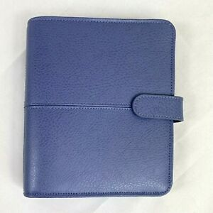 Franklin Covey Compact Anna Leather Snap Binder Sailor Blue 7 8 x 6 5 x2