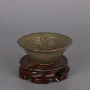 Chinese Song Yaozhou Kiln Porcelain Green Glaze Hand Carved Flower Kid Bowl 4