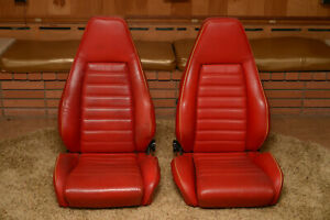 Porsche Sport Seats 1980s Two Factory Seats Red Leather 911 930 944