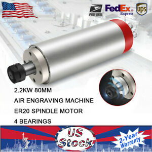 2 2kw Water Cooled Square Spindle Motor Er20 10a For Cnc Engraving 80mm Us