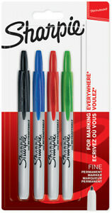 Sharpie Retractable Marker Pens Assorted Colours blister Of 4