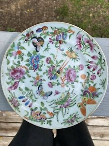 Rose Canton Chinese Celadon Plate