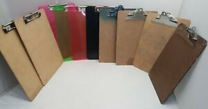 10 Clipboards Varied Brown Tan Pink Green Black Clear Clip Board Letter
