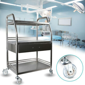 3 Tiers Medical Trolley Mobile Rolling Serving Cart Stainless Brake Wheels F lab