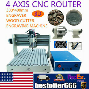 4 Axis 400w 3040t Cnc Router 3d Engraver Engraving Drilling Milling Machine W rc