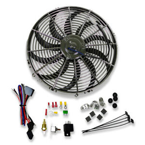 16 Chrome Electric Curved Blade Cooling Fan Thermostat Relay Install Kit