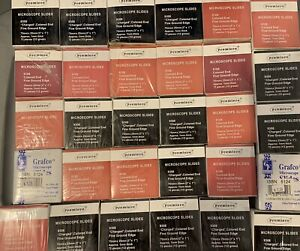 Lot Microscope Slides Charged Colored End 30 Boxes 72pc New Biology Science