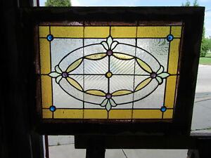 Antique Stained Glass Transom Window 32 X 23 75 Architectural Salvage