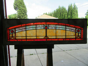 Antique Stained Glass Transom Window Roses 62 25 X 19 25 Salvage