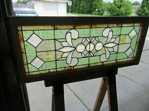 Antique Stained And Beveled Glass Transom Window 48 X 20 25 Salvage