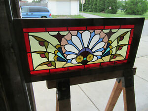 Antique Stained Glass Transom Window Colorful 33 75 X 16 Salvage