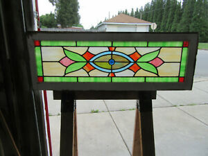 Antique Stained Glass Transom Window Colorful 45 X 15 75 Salvage