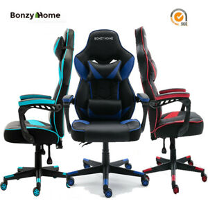 Heavy Duty Gaming Chair Office Rising Recliner Pu Leather High Back Padded Seat