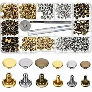 Leather Rivets Double Cap Rivet Tubular Metal Studs 2 Sizes With 3 Fixing Tool