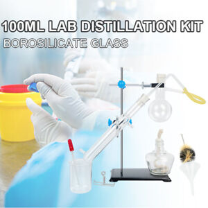 100ml Lab Glass Distillation Apparatus Water Distiller Kit Flask For Chemical