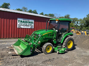 2018 John Deere 3039r 4x4 39hp Compact Tractor W Cab Loader Belly Mower 300hrs