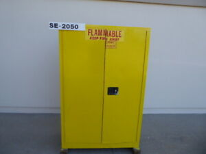 Used Safety Equipment A a Sheet Metal 45 Gallon Flammable Storage Cabinet Se20