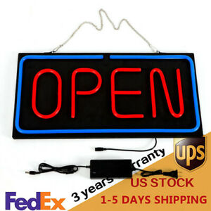 Neon Open Sign 24x12in Led Light 30w Horizontal Decorate Wall Hanging Chain Pvc
