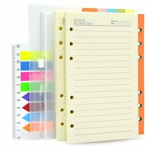 2 Pack A6 Refill Paper Lined 200 Sheets 400 Pages And 5 Colorful Index Divide