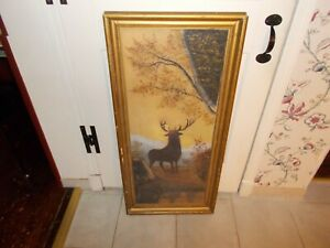 Late 1800s Early 1900s Oil On Canvas Of A Stag In The Forest In Original Gold Fr