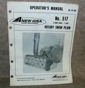 New Idea Avco 517 Rotary Snow Plow 7 Foot 3 Point Hitch Factory Manual 1974