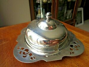 Vintage Yeoman Round Butter Dish W 4 Glass Insert 6 Silver Plate Made In Uk
