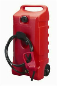 Wheeled Fuel Gas Container Hand Pump Transfer 14 Gal 10 Long Fuel Hose New