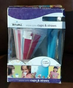 Rival Snow Cone Cups With Straws 10 Per Box Red And Blue Striped Straw Includ