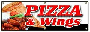 72 Pizza Wings Banner Sign Brick Oven New York Chicago Italian Spicy