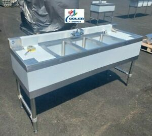 New 60 Commercial Under Bar Counter Sink 3 Compartment Kitchen W Faucet Nsf