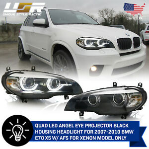 Quad Projector Drl Led Angel Halo Headlight For 2007 2010 Bmw E70 X5 Xenon Withafs